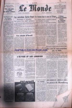 MONDE (LE) [No 10095] du 19/07/1977 - LES ENTRETIENS CARTER - BEGIN - LES TENSIONS DANS LA CORNE DE L'AFRIQUE - L'ELYSEE ET LES LIBERTES - LES HALLES - LE PRINCE DE HAMBOURG.