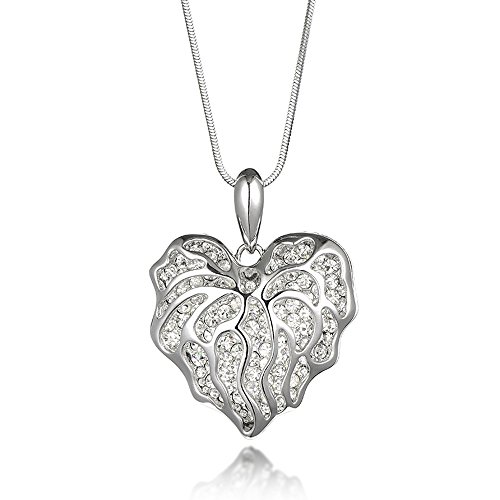 Teniu Fashion Long Necklace Silver Heart Pendant Necklace For Women Girls(Valentines Day Gift)