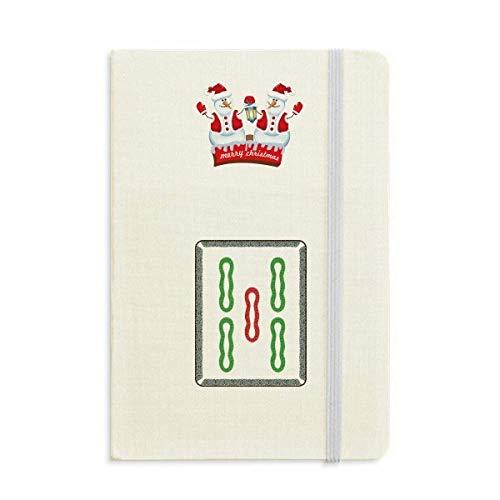Mahjong Notizbuch mit 5 Fliesen und Schneemann, Bambus, dick, Hardcover