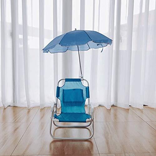 YANGYUAN Juego de sombrilla para niños, silla de salón y sombrillas, muebles de jardín al aire libre, terraza inclinada, multicolor, protección de sombra (color azul)