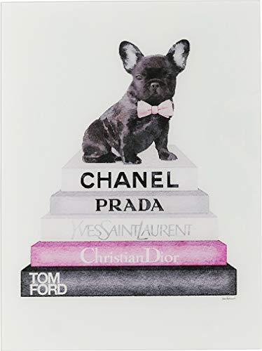 Kare Design Bild Glas Fashion Dog, pink, Hunde Bild, Französische Bulldogge, Chanel Bild,  80x60cm