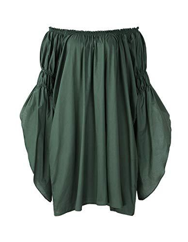 ReminisceBoutique Renaissance Medieval Peasant Dress Up Pirate Faire Celtic Blouse (Regular, Green)