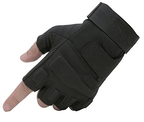 Seibertron S.O.L.A.G 1/2 Finger/Fingerless/Half Finger Multi-Function Sports Gloves Black L