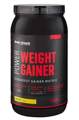 Body Attack Power Weight Gainer, 100% Masseaufbau, Kohlenhydrat-Eiweißpulver zum Muskelaufbau mit Whey-Protein, ideal für Hardgainer (Banana, 1,5 kg)