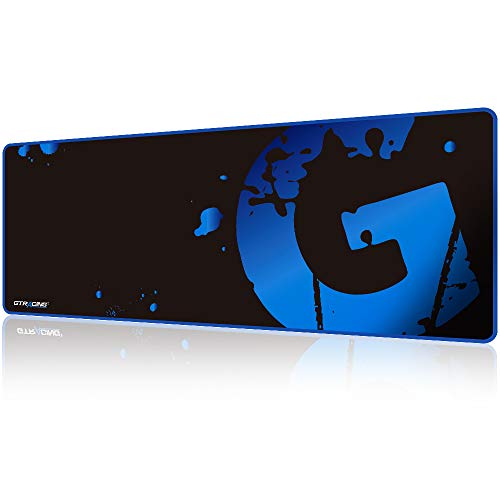 GTRACING Gaming Mouse Pad Large, Extended Mousepad with Stitched Edges, Non Slip Rubber Base, Waterproof XL Size Keyboard Pad, Mouse Mat for Gamer, Office and Home, 31.5x11.8 in,Blue