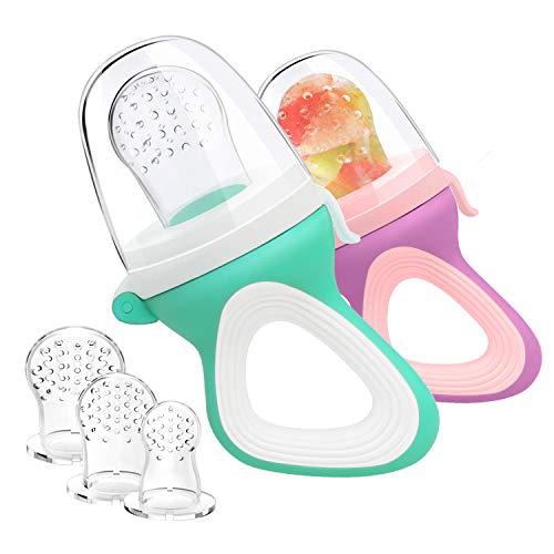 Oladwolf Fruchtsauger für Baby & Kleinkind, Silikon Schätzchen Schnuller für Obst und Gemüse Brei Beikost, BPA frei, 5PCS Professionelles Baby-Beißring Sauger in 3 Größen