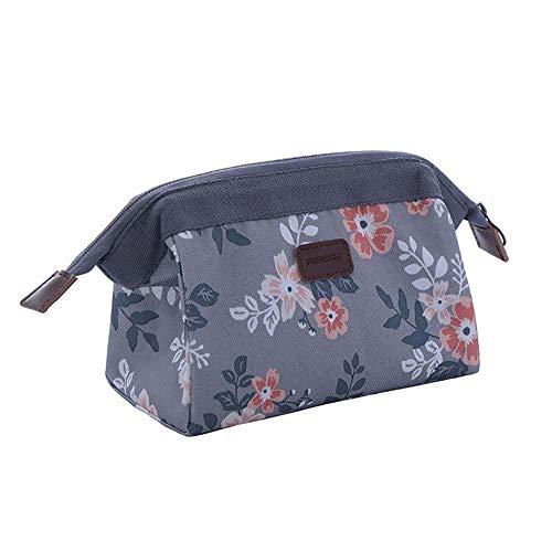 BIGBOBA Sac cosmétique pour dames, sac cosmétique multifonctionnel portable en tissu Oxford, sac cosmétique pour les mains Flamingo (Gris)