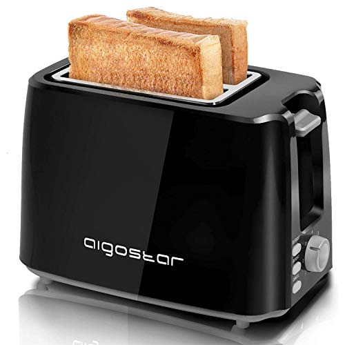 Aigostar Toaster,7 Einstellbare Bräunungsstufe + Auftau- & Aufwärmfunktion,2 Breite Toastschlitze,750W, Sandwichtoaster Schwarz