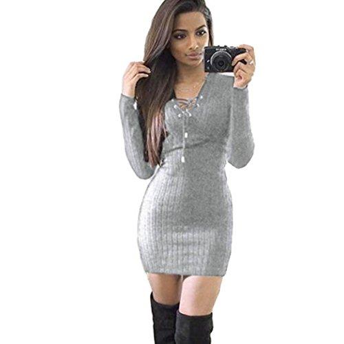 Amlaiworld Damen unregelmäßige Perspektive ärmel hoher Kragen figurbetontes Kleid, Neue Herbst&Winter warme Pullover Kleid (S, A,Grau)