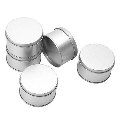 iEFiEL Tarros de Hojalata para Hacer Velas Tarros de Lata Redonda Recipiente de Latas de Metal Vacío Latas de Aluminio con Tapa para Té Caramelo café Azúcar Joyería Plateado One Size