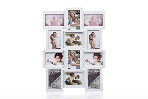 ARPAN - Marco de Fotos de Madera con Apertura múltiple y Capacidad para 12 Fotos de 15 x 10 cm. Marco de Pared para Collage. Blanco. 59 x 47 x 3 cm