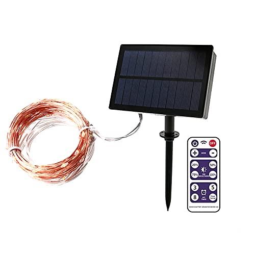 LTXDJ - Guirnalda luminosa solar, LED, 100 LED, 8 modos, impermeable, guirnalda decorativa con mando a distancia para patio, exterior, jardín, patio