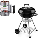 BEAU JARDIN 18 Inch Charcoal Grill Bundle Chimney Starter for Outdoor Camping Cooking Grill Kit
