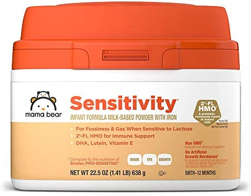 Mama Bear Sensitivity Baby Formula Powder With Iron, Reduced Lactose, Non-GMO, 2'-FL HMO for Immune Support, 12 Ounce
