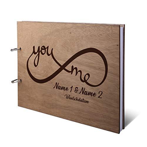 Hochzeit Gästebuch Okoume Holz Gravur individuell Holzcover mit 144 Naturpapier Innenseiten DIN A4 quer 305 x 215 mm - You & Me