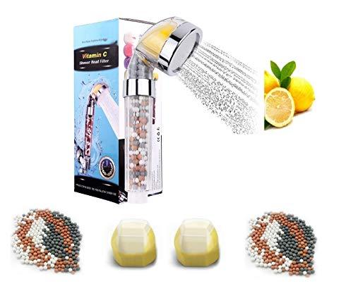 WOOPOWER Cabezal Ducha Filtro Vitamina C, Alchachofa Ducha Filtro Universal Alta Presión, Cabeza Ducha de Mano para Eliminar Cloro, Suaviza Agua Dura, Ahorra agua