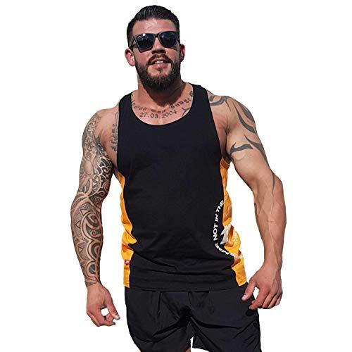 Brachial Tank-Top Squat schwarz/orange 3XL - Muscle Shirt für Bodybuilding, Kraftsport und Fitness