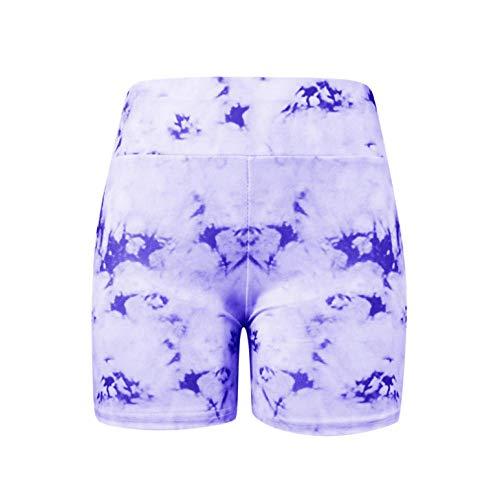 ZEEKYLY Femmes Yoga Sport Court Été Courir Courts Leggings Pantalons Shorts de Yoga Courir Courts Vêtements de Fitness-Violet_XL