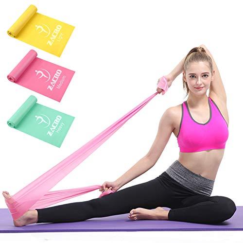 Zacro Elastiche Fitness 3 Pezzi,Lunghezza 1.8 m,Elastiche Fitness in Lattice Naturale,Elastica Fasce Resistenza,Unisex, Adatto per Allenamento della Forza, Yoga, Pilates, Fitness, Fsercizio a casa