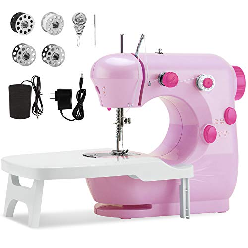 Mini Sewing Machine with Extension Table, Midvalley Handheld Sewing Machine for Beginners,Kids,Sewing Craft Lovers,Electric Hand Sewing Machine with Dual Speed,and Double Thread