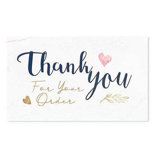 120 Dankeskarten Small Business (8,9 x 5,1 cm – Visitenkartengröße), modernes Design, Kundenschätzung für Geschäftsinhaber, Online, Einzelhandel, handgefertigte Waren, Verpackungseinlagen