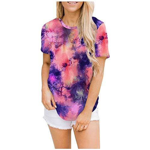 Daily Ritual, lässiges Damen-Sweatshirt, superweich, kurzärmelig Lässige Tie-Dye-T-Shirts für Damen Sommer-Patchwork-T-Shirts mit kurzen Ärmeln und O-Ausschnitt
