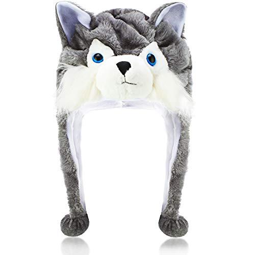Sombrero de Felpa Lobo Sombrero de Lobo de Madera Invierno Corto Gorro de Esquí Animal de Invierno con Forro Polar