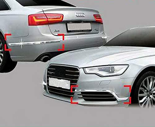 Zubehör für Audi A6 C7 2011-2014 Facelift Chrom Stoßstangenecken Leisten Blenden Tuning Schutz für Stoßstange Bumper Molding