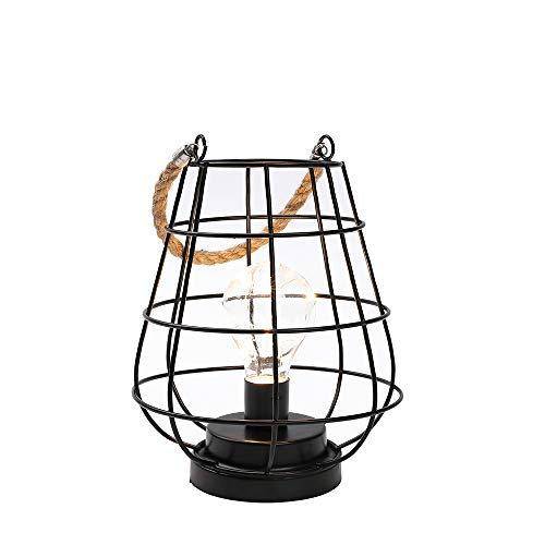 Käfig Glühbirne Laterne Dekorative Lampe Batteriebetriebene Akku-Akzentleuchte mit warmweißen Lichterketten LED Edison Glühbirnenlampe für Wohnzimmer schöne Küche Hochzeit (Schwarz)