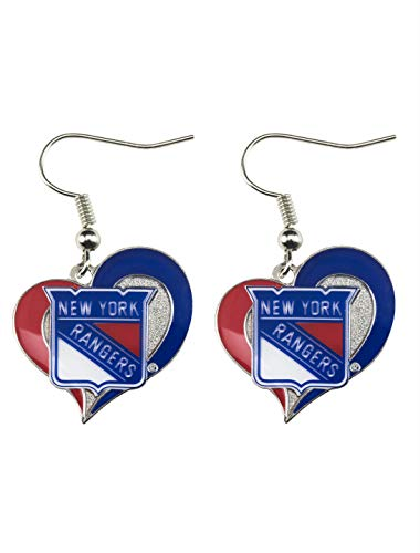 NHL New York Rangers Swirl Heart Earrings