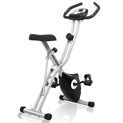 ANCHEER Bicicleta Estática Plegable Bicicleta de Ejercicio 10 Niveles de Resistencia Magnética, con App, Soporte para Tableta Capacidad de Peso:120kg (Gris)