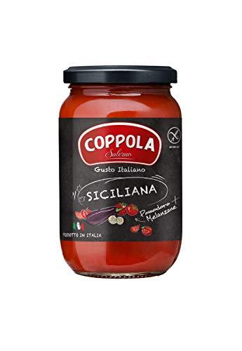 Coppola Sugo Siciliana, Salsa de tomate con berenjenas – Sin azúcar añadida 350g (Caja de 6)