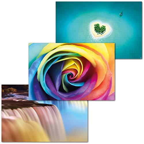 GREAT ART 3er Set XXL Poster Kinder Motive – Love Set – Regenbogen Rose Herzinsel Niagara Fälle Wasserfall Karibik Palmen Dekor Inneneinrichtung Wandbild Plakat je 140 x 100 cm