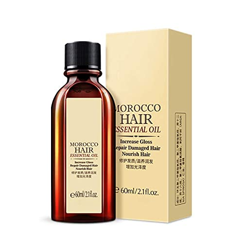 Moroccan Essential Oil Hair Care Essence, Multi-Functional Hair Essential Oil, Moroccan Pure Argan Oil Essential, Most Suitable for Repairing Split Ends, Frizzy, and Knotted Hair (60ml)