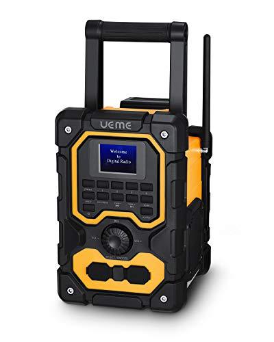 UEME Baustellenradio Robustes DAB+ FM Radio mit Bluetooth,Ladestation und Aux Anschluss DB-1005 (Gelb-Schwarz)