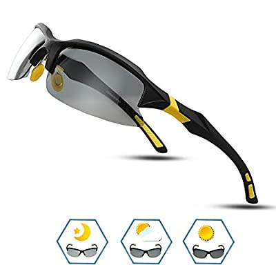 COMAXSUN Polarized Photochromic Sports Sunglasses for Men Women TR90 Frame Cycling Running Fishing Golf Driving Glasses