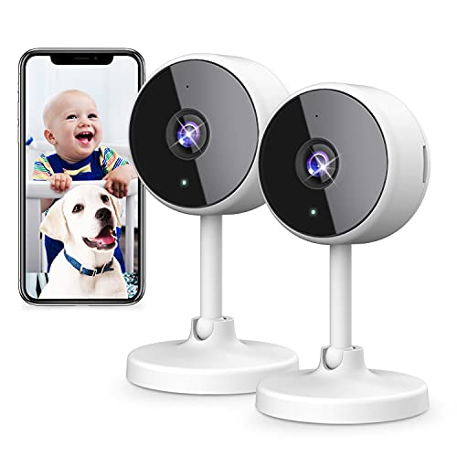 DJHH Indoor Security Camera, 2 Pack HD 1080p 2.4GHz Baby Monitor Cameras for Home Security WiFi Surveillance with Night Vision & Two-Way Audio & Motion Detection for Dog Pet Nanny Elder