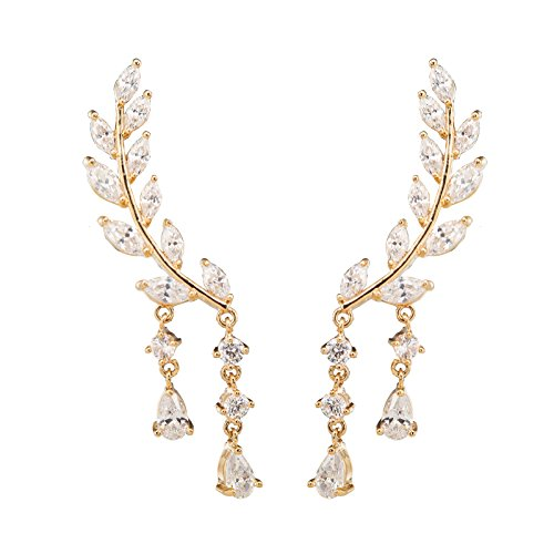 Chichinside CZ Crystal Leaves Ear Cuffs Climber Earrings Sweep up Ear Wrap Pins 1 Pair (gold-plated-base)