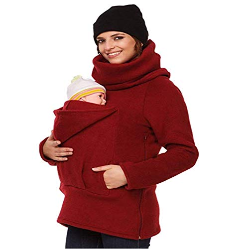 Damski top dla kobiet w ciąży elegancki workowaty jednolity kolor odzież dla kobiet macierzyństwa bluza z kapturem pulower dla dwojga dziecko nosidełko przedni uchwyt dla niemowląt, Czerwony, XXL