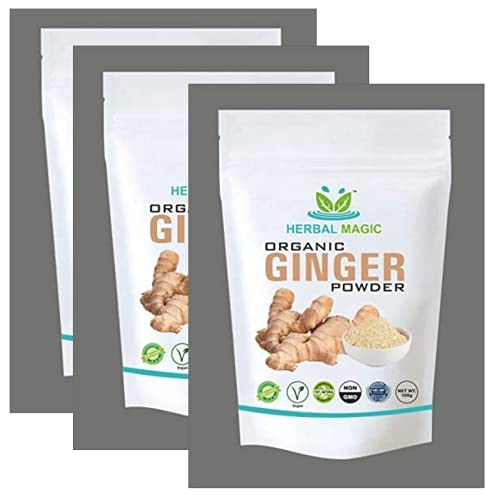 Herbal Magic's 100g Organic Raw Ginger Powder Pesticide Free (Zingiber Officinale) - (NOT Treated/ tinctured extracts) - Digestion Immunity - Whole Plant Used (Raw Ginger Powder, 300g)