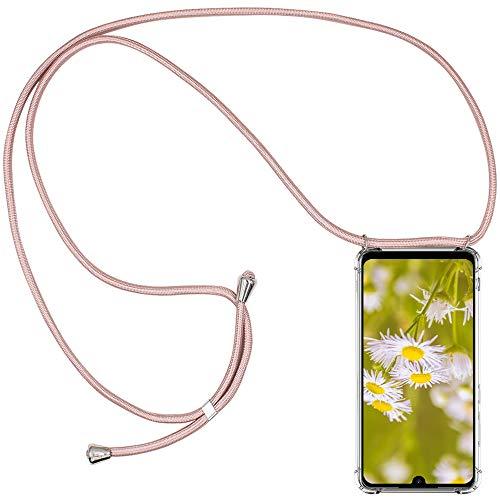 CLM-Tech Carcasa con Cuerda para Colgar Compatible con Xiaomi Redmi Note 7 - Funda Silicona Transparente con Cordon para Llevar en el Cuello, Oro Rosa
