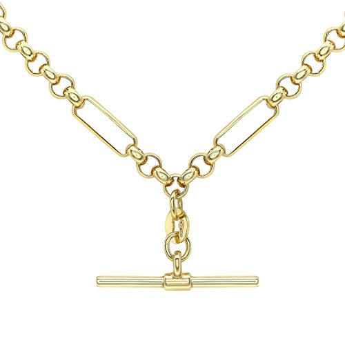 Carissima Gold Women's 9ct Yellow Gold Figaro Belcher Chain T-Bar Necklace - 46cm/18'