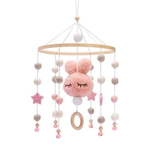Promise Babe Mobile Baby Holz mit Filzbällen Kinderzimmer Hängende Bettglocke Hase Mobile Windspiel für Babybett Kinderbett (Rosa)