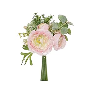 "Sweet Home Deco 12"" Spring Silk Ranunculus Flower Bouquet w/Greenery for Wedding/Home Decorations, Floral Design, Rustic Bouquet"