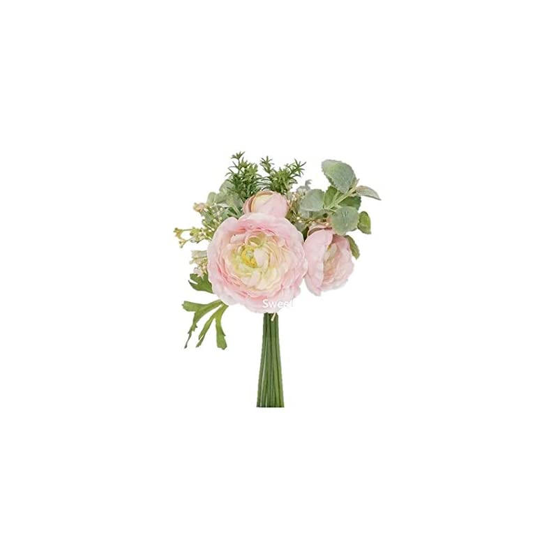 silk flower arrangements sweet home deco 12'' spring silk ranunculus flower bouquet w/greenery for wedding/home decorations, floral design, rustic bouquet
