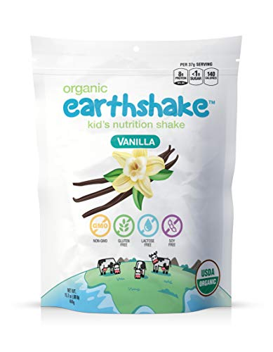 Earthshake Organic Kids Nutritional Protein Shake - Non GMO, Lactose Free, Soy Free, Gluten Free, Less than 1g of Sugar Per Serving, Amazing Taste | All Ages 2 & Up (Vanilla, 15.7 oz Bag)
