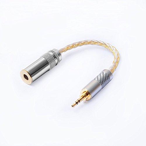 Okcsc Adapter für Kopfhörer, Audios, 4,4 mm Buchse auf 3,5 mm Stecker, symmetrischer Ausgang, Adapter für symmetrische Kabel, vergoldeter Stecker, M3F4 Gold-Silber