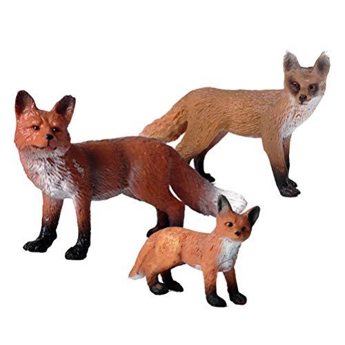 Toyvian 3 Stück Fuchs Figur Modelle Realistische Fuchs Tier Tisch Statue Miniatur Wildtier Sammler Kunst Kunst Skulptur Urlaub Weihnachten Goodie Bag Stuffer Party Gefälligkeiten 5X3cm