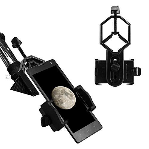 Aomekie Universal Adaptador de Teléfono y Mount Soporte de Trípode para Smartphone Sony Samsung Moto - Cámara de catalejo/Telescopio/Microscopio/Binocular