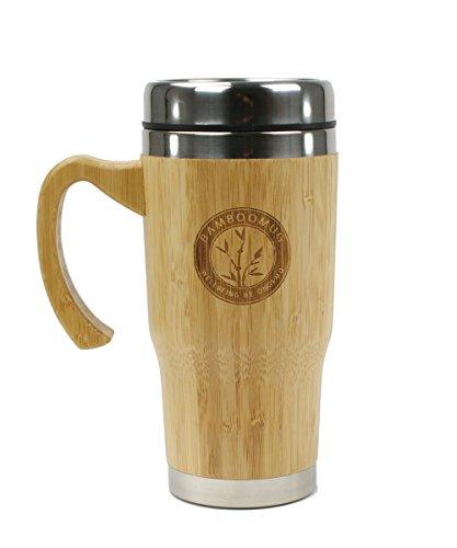Bamboomug ED5018 Kaffee- oder Teebecher mit Griff, doppelwandig, aus Edelstahl und Bambus, 400 ml